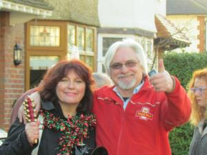 "Organisers Julie Wassmer and Chris Stone give ""thumbs up"" to industrial action"