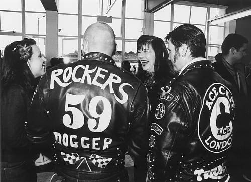 Bikers at the Ace Cafe